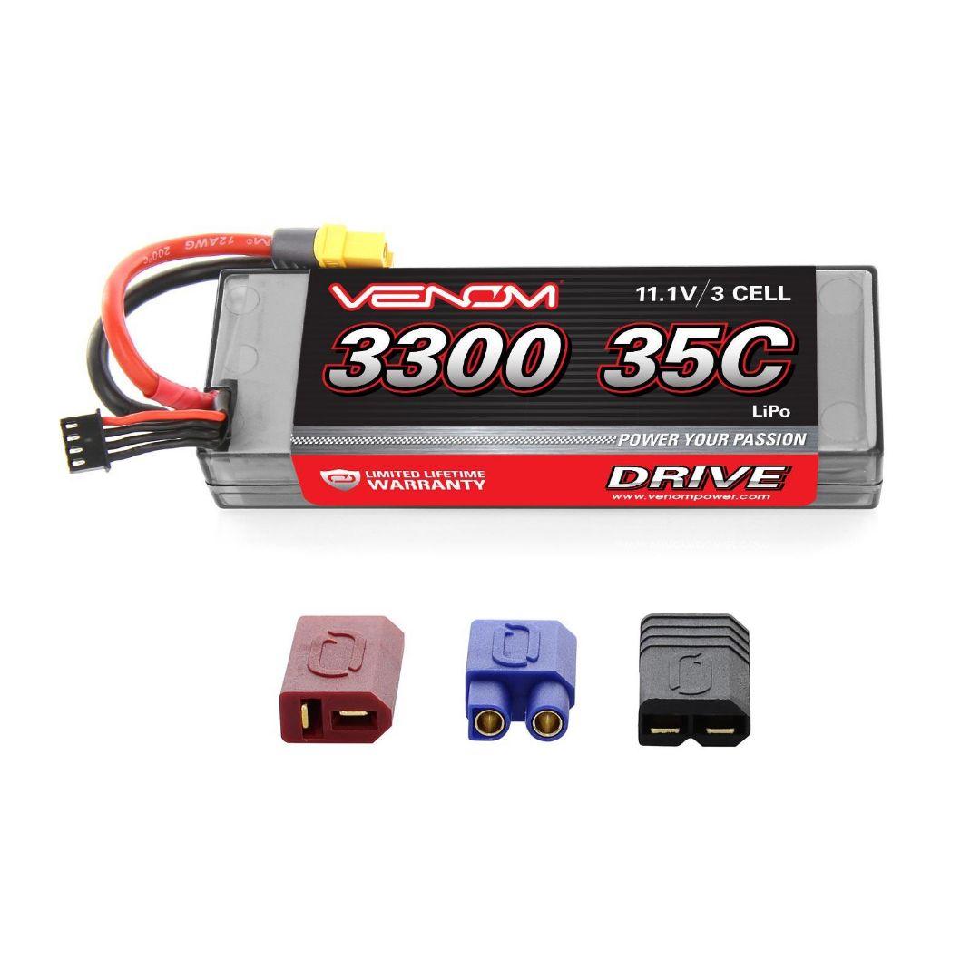 Venom Drive 3300mAh 3S 11.1v 35C LiPo UNI Plug Hard Case 138x47x24 mm