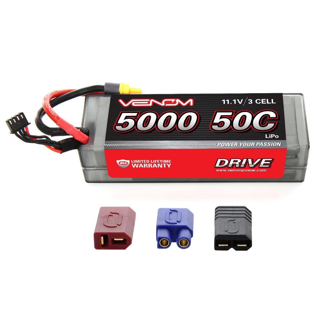 Venom Drive 5000mAh 3S 11.1V 50C LiPo UNI Plug Hard Case 138x46x36mm