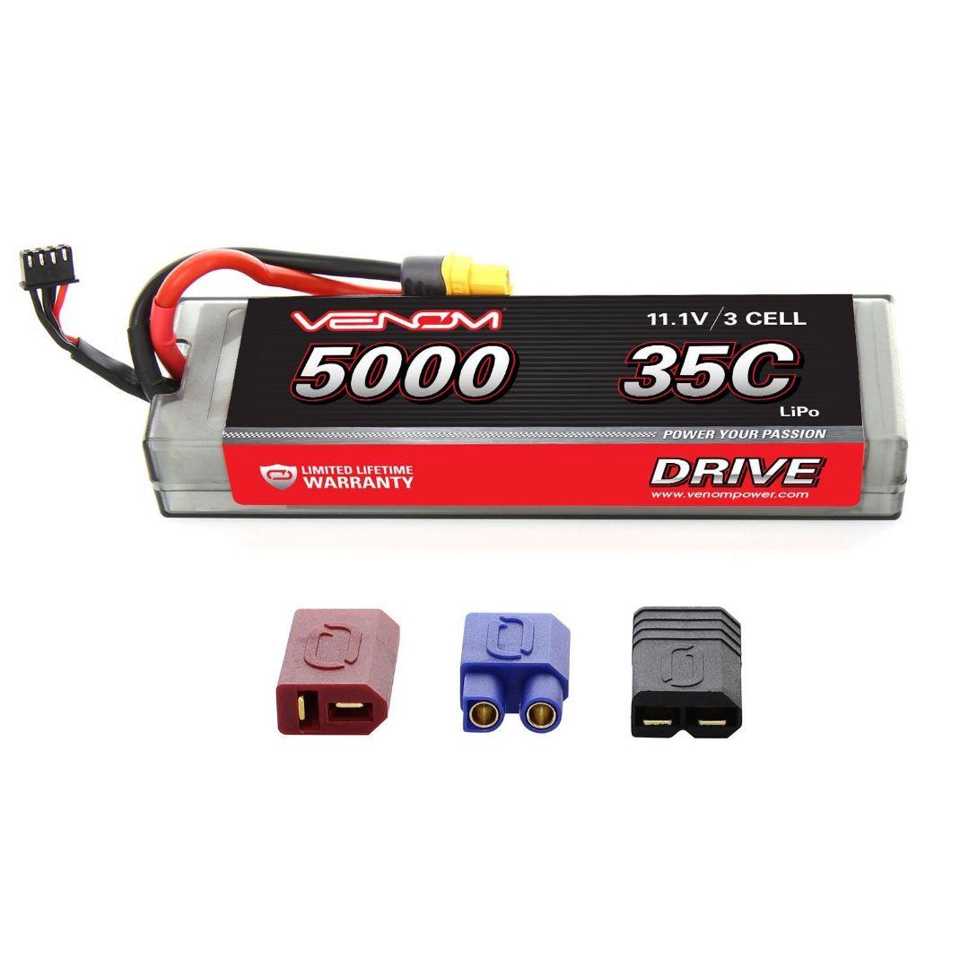 Venom Drive 5000mAh 3S 11.1v 35C LiPo UNI Plug Hard Case Flat 163x48x25 mm