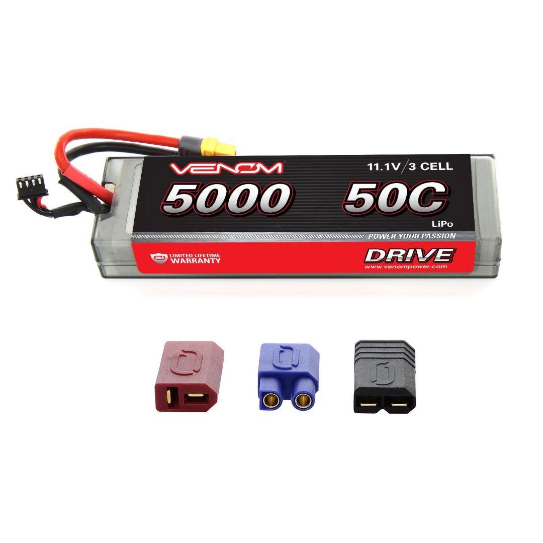 Venom Drive 5000mAh 3S 11.1V 50C LiPo UNI Plug Hard Case Flat 163x48x25mm