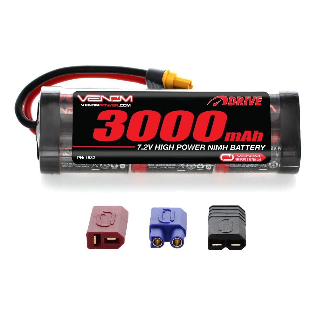 Venom Drive 3000mAh 7.2V 6 Cell NiMH UNI Plug 137x45x23.9mm