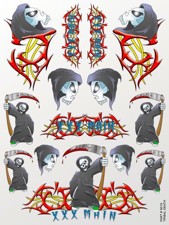 XXX Main Racing Tribal Death Sticker Sheet